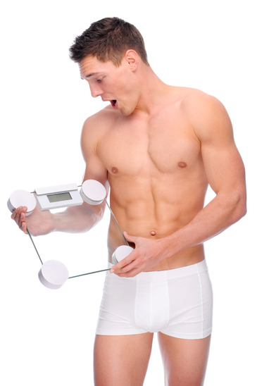 Man with bathroom scales